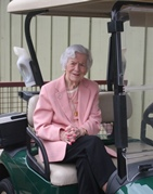 Doris Barger in Golf Cart